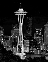 Seattle Space Needle Starry Night - Black & White