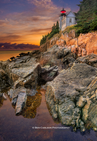 Bass Harbor Lighthouse Sunset - Vertical