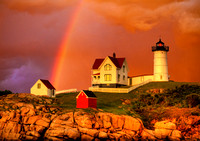 Cape Neddick Lighthouse Rainbow - Horizontal