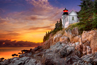 Bass Harbor Lighthouse Sunset - Horizontal