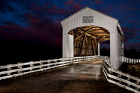Covered Bridge w-Red & Blue Sunset